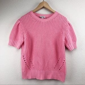 Lucky Brand Pink Bubble Sleeve Knit Sweater